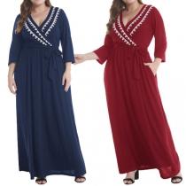 Sexy V-neck 3/4 Sleeve Oversized Plus-size Maxi Dress