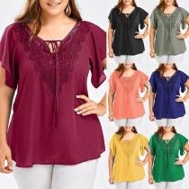 Fashion Lace Spliced V-neck Short Sleeve Oversized Plus-size Top