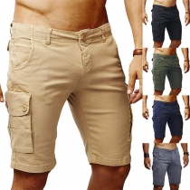 Fashion Solid Color Side Pocket Man's Knee-length Shorts