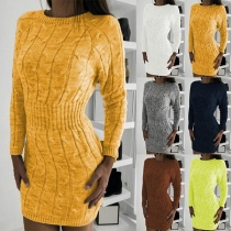 Fashion Round Neck Long Sleeve Solid Color Sweat Dress