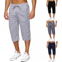 Fashion Solid Color Elastic Waist Men's Capri Pants