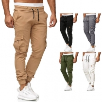 Fashion Solid Color Drawstring Waist Side-pocket Men's Pants