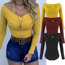 Sexy V-neck Long Sleeve Solid Color Slim Fit Bodysuit