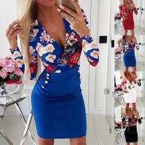 Sexy V-neck Long Sleeve Slim Fit Printed Dress