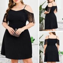 Sexy Off-shoulder Tassel Short Short Plus-size Sling Dress