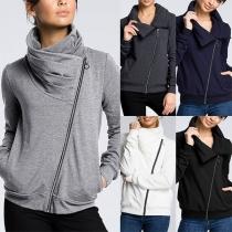 Fashion Solid Color Long Sleeve Oblique Zipper Sweatshirt Jacket