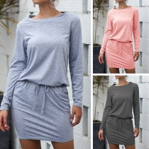 Fashion Solid Color Long Sleeve Dress  with Belt strip