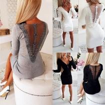 Sexy Gauze Spliced Backless V-neck Long Sleeve Dress