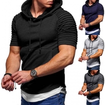 Fashion Short Sleeve Hooded Mock Two-piece T-shirt for Men