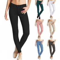 Fashion Solid Color Middle Waist Slim Fit Pencil Pants