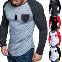 Fashion Contrast Color Long Sleeve Round Neck Man's T-shirt