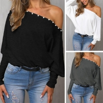 Sexy Off-shoulder Boat Neck Dolman Sleeve Loose Top