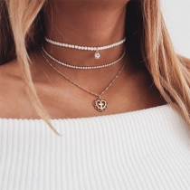Fashion Imitation Pearl Rhinestone Inlaid Heart Pendant Necklace