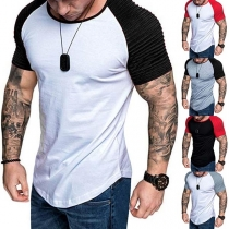 Fashion Contrast Color Short Sleeve Round Neck Man's T-shirt