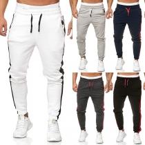 Fashion Contrast Color Elastic Waist Man's Sports Pants