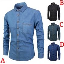 Fashion Long Sleeve POLO Collar Man's Denim Shirt