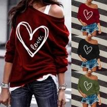 Fashion Long Sleeve Round Neck Heart Printed Sweatshirt