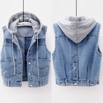 Fashion Front-pocket Hooded Denim Vest