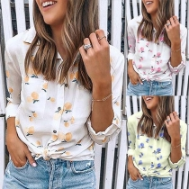 Casual Style Button Front Self-tie Hem Peach Print Long Sleeve Blouse