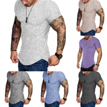 Fashion Short Sleeve Round Neck Arc Hem Man's T-shirt