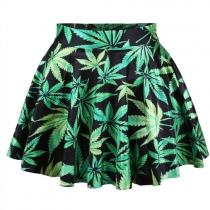 Fashion Maple Leaf Floral Print Bust Skirt