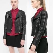 Fashion Long Sleeve Lapel Oblique Zipper PU Leather Jacket