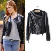 Fashion Lapel Oblique Zipper PU Leather Motorcycle Jacket Coat