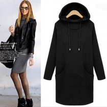 Fashion Solid Color Long Sleeve Hooded Sweatshirt Dress