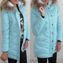 Fashion Solid Color Hooded Slim Fit Warm Coat