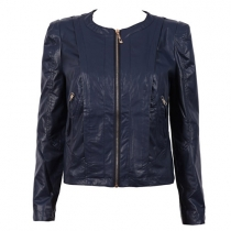 Fashion Solid Color Long Sleeve Slim Fit PU Leather Coat