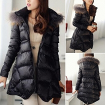 Fashion Solid Color Long Sleeve Hooded Slim Fit Warm Coat