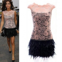 Fashion Lace Spliced Sleeveless Feather Dress