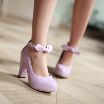 Fashion Candy Color Thick High-heeled Round Toe Bowknot Shoes
