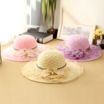 Fashion Wide Brim Lace Spliced Flower Sunhat