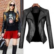 Fashion Long Sleeve Lapel PU Leather Jacket