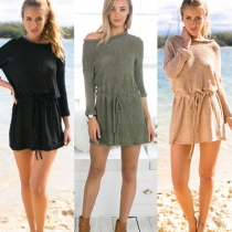 Fashion Solid Color Long Sleeve Gathered Waist Knitted Sweater Dress