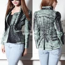 Fashion PU Leather Spliced Long Sleeve Slim Fit Denim Motorcycle Jacket