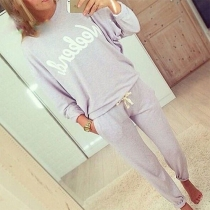 Fashion Long Sleeve Round Neck Letters Printed Sports Suit
