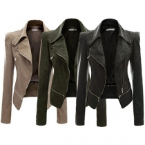 Fashion Solid Color Long Sleeve Lapel Slim Fit PU Leather Motorcycle Jacket(The size runs small)