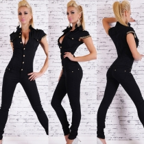 Elegant Solid Color Short Sleeve POLO Collar Jumpsuits