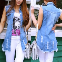 Distressed Style Slim Fit Ripped Denim Vest