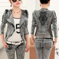 Fashion PU Leather Spliced Hand-beaded Long Sleeve Denim Jacket