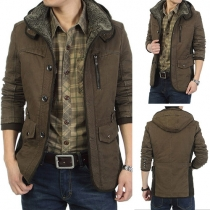 Fashion Solid Color Long Sleeve Hooded Men Warm Coat