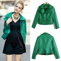 Fashion Solid Color Long Sleeve Lapel PU Leather Jacket