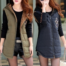 Fashion Solid Color Hooded Warm Vest