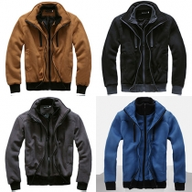 Fashion Contrast Color Dual Stand-collar Men's Jacket