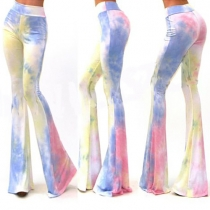 Fashion Tie-Dye Slim High-Waist Bell-Bottom Trousers