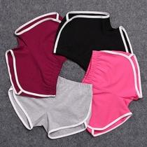 Fashion Contrast Color Elastic Waist Sports Shorts