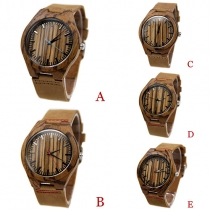 Retro Style PU Leather Watch Band Wooden Round Dial Quartz Watch