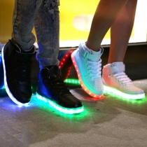Fashion LED Rechargeable Lace-Up Velcro High Top Sneakers